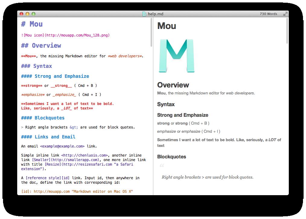 Schermata dall'editore Mou che mostra sia la fonte di Markdown che il risultato tradotto in HTML. Fonte: http://25.io/mou/