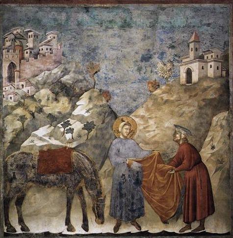 San Francesco regala il suo mantello a un povero, Giotto, 1297-1299