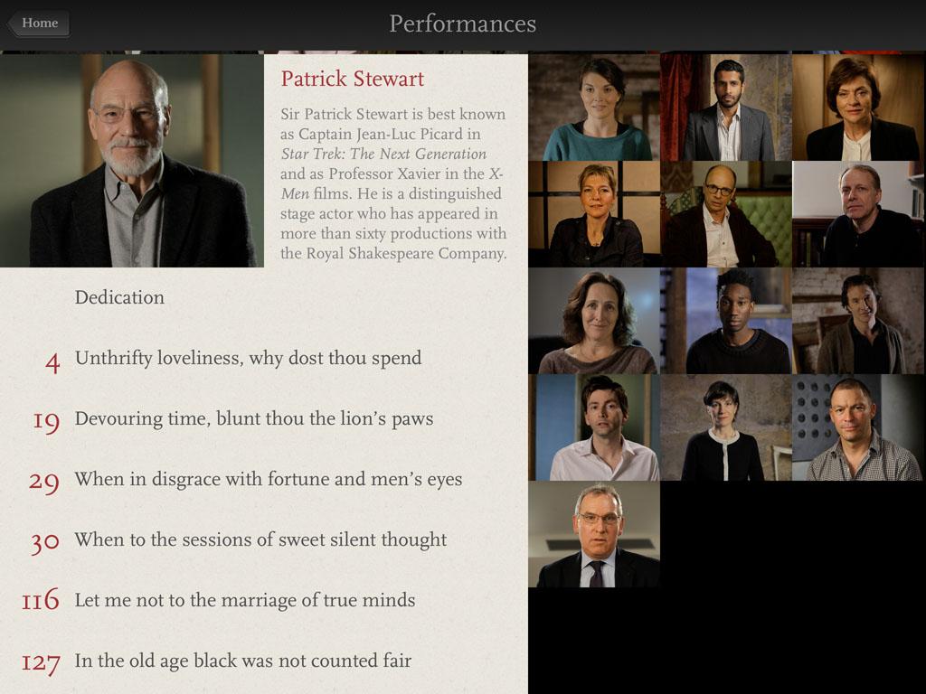 Una schermata tratta da Shakespeare's Sonnets della Touch Press
