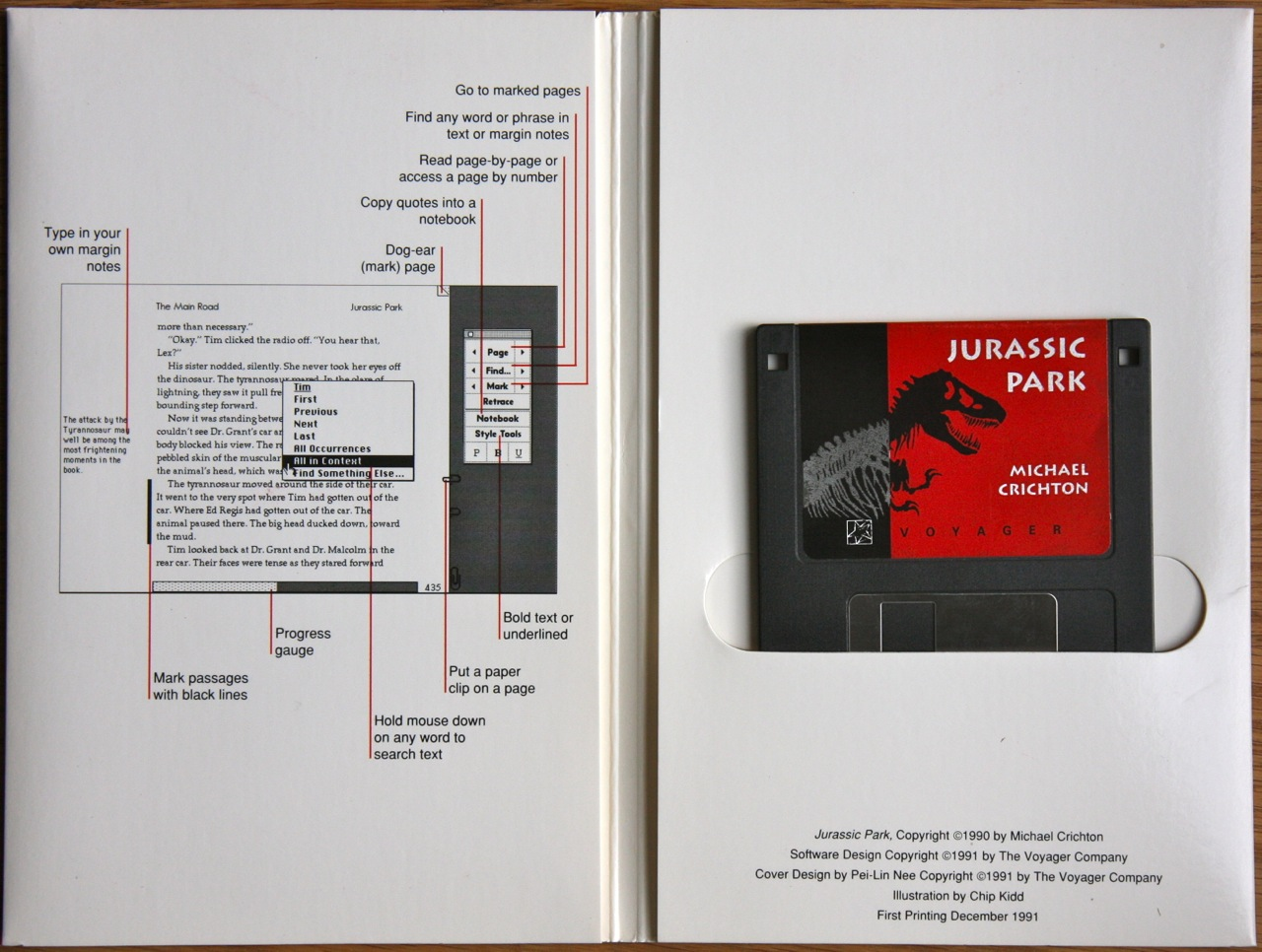 Jurassic Park Expanded Book, Voyager Company, 1991. Fonte: http://alfabravo.com/2011/08/early-ebooks-and-why-they-failed/